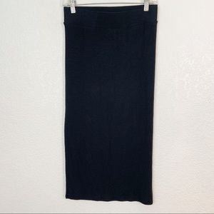 ATM Black Micromodal Midi Skirt Small